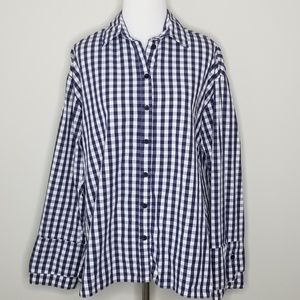 Topshop | Blue & White Checkered Button Down Top 4